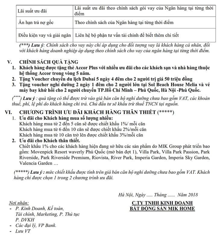 Chính sách bán hàng dự án Căn hộ Condotel Movenpick Phú quốc 4