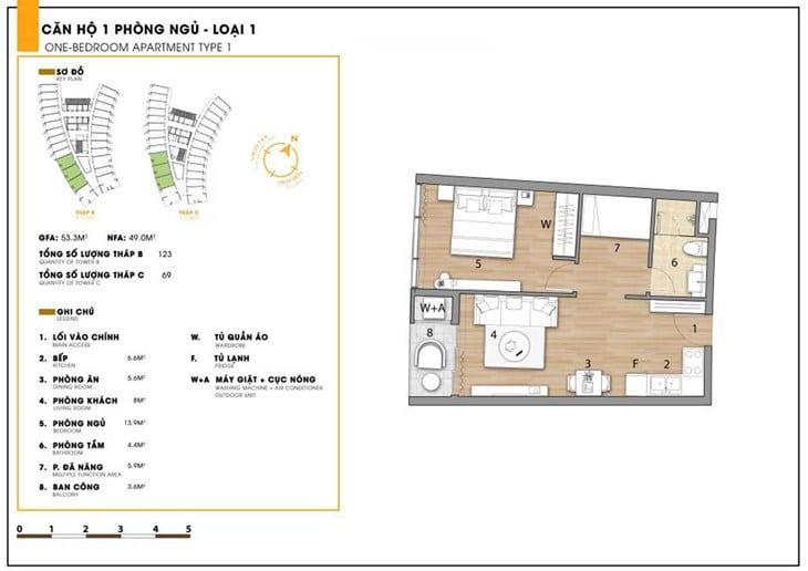 Mặt bằng căn hộ dự án Codotel Ninh Chữ Sailing Bay Ninh Thuận 1