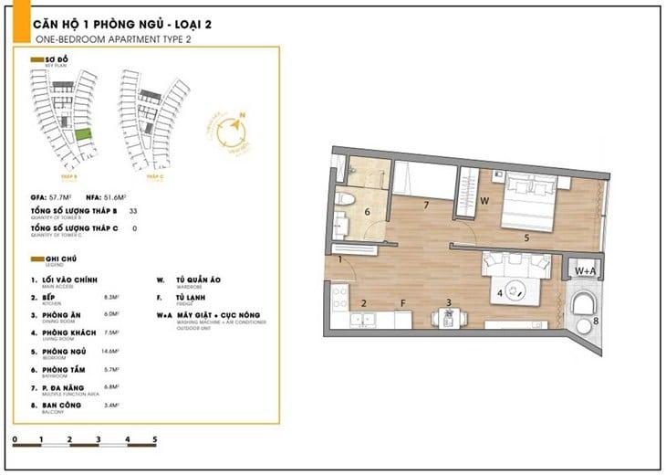 Mặt bằng căn hộ dự án Codotel Ninh Chữ Sailing Bay Ninh Thuận 2