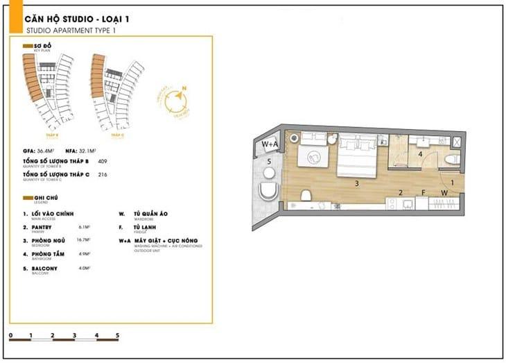 Mặt bằng căn hộ dự án Codotel Ninh Chữ Sailing Bay Ninh Thuận 5