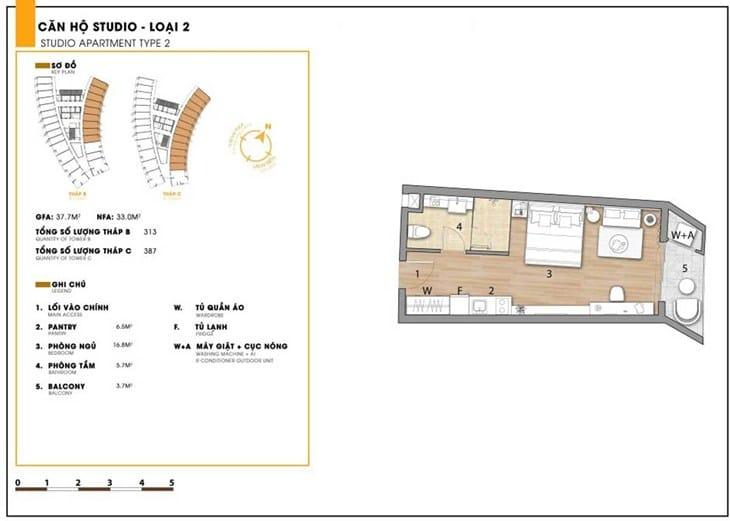Mặt bằng căn hộ dự án Codotel Ninh Chữ Sailing Bay Ninh Thuận 6