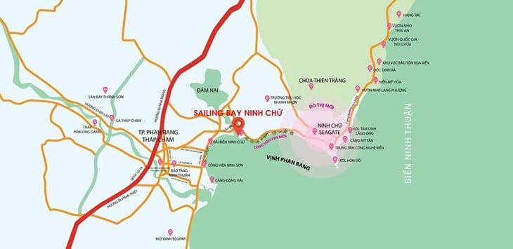 Vị trí dự án Codotel Ninh Chữ Sailing Bay Ninh Thuận